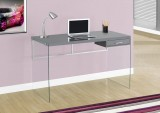 "I 7208 - COMPUTER DESK – 48""L / GLOSSY GREY / TEMPERED GLASS"