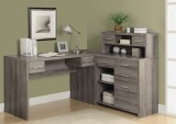I 7318 - DARK TAUPE RECLAIMED-LOOK L SHAPED HOME OFFICE DESK