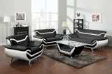 ADONA - 3PC LEATHER GEL SOFA, LOVESEAT & CHAIR - BLACK & WHITE
