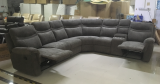 Barcelona - Curve Sectional with Console and Two Recliners in Grey Fabric