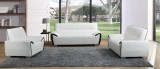 Moonstar - 3Pc Sofa, Loveseat & Chair in White & Black Leather Gel