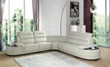 ORCHID CURVE SECTIONAL IN BLACK OR BROWN LEATHER GEL - 5PC SET WITH TEA TABLES