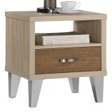 OZZY ACCENT TABLE IN WHITE OAK/BROWN