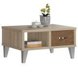 OZZY COFFEE TABLE IN WHITE OAK/BROWN