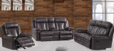 OLIVER - 3PC LEATHER GEL RECLINER SET IN BLACK