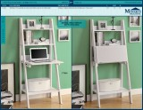 "I 7040 - WHITE 61"" LADDER BOOKCASE WITH A DROP-DOWN DESK"