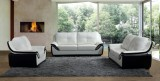 PEARL - 3 PC SOFA SET IN BLACK AND WHITE LEATHER GEL