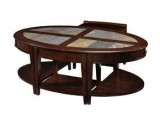 PENBROOK OVAL COFFEE TABLE WITH 2 STOOLS & DRAWERS
