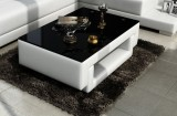 RC13 COFFEE TABLE IN WHITE WITH BLACK GLASS