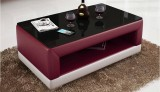RC16 COFFEE TABLE IN PURPLE AND WHITE WITH BLACK GLASS