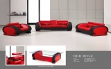 Red Rose - 3PC Sofa, Loveseat and Chair in Leather Gel