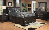 10 PC SALEM KING STORAGE BEDROOM SUITE IN SADDLE BIRCH