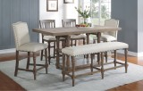 "SONOMA 78"" TALL TABLE ONLY WITH 18"" BUTTERFLY LEAF IN GREY BY WINNERS ONLY"