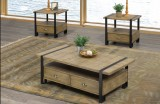 T-5047 - 3Pc Coffee Table Set in Distressed Oak Finish by Titus Furniture