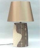 TL2803 - TABLE LAMP, SILK CHAMPAGNE  SHADE