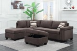 THORNHILL - 2 PIECE SECTIONAL WITH STORAGE OTTOMAN IN CHARCOAL GREY CHENILLE