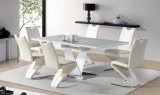 VITALIA - 7PC DINING SET WITH BUTTERFLY LEAF GLOSSY FINISH IN BLACK