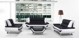 Yelly - 3Pc Sofa, Loveseat and Chair in Black and White Leather Gel