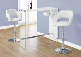 "I 2348 - HOME BAR - 48""L / GLOSSY WHITE / CHROME / TEMPERED GLASS"