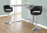 "I 2349 - HOME BAR - 48""L / GREY CEMENT / CHROME / TEMPERED GLASS"