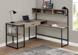 7161 - COMPUTER DESK - DARK TAUPE / BLACK METAL CORNER BY MONARCH SPECIALTIES INC