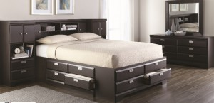 261 Series in Espresso Double Storage Bed with Drawers and Bookcase Headboard x2 Piers - Left and Right in Espresso
