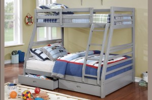T-2700 - Twin / Double Bunk Bed in Grey with Drawers by Titus Furniture