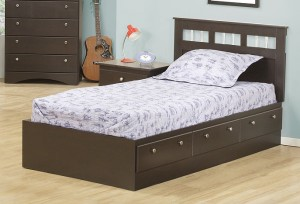 271 Series - Twin Mates Bed with Panel Headboard in Cappuccino