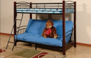T-2900 - Twin / Futon Bunk Bed with Wooden Posts