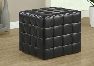 I 8977 - BLACK LEATHER LOOK OTTOMAN