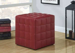 I 8979 - RED LEATHER-LOOK OTTOMAN
