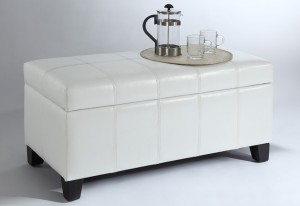 BELLA STORAGE OTTOMAN - WHITE