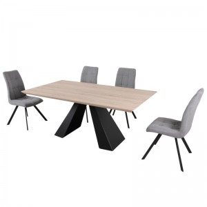 BAXTER DINING TABLE & 6 TOBY CHAIRS IN BLACK/GREY