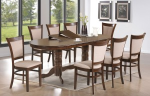 "9PC Birmingham 81"" Oval Double Pedestal Table and 8 Dining Room Chairs in Walnut"