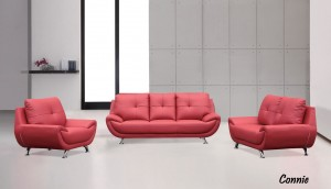 CONNIE - 3PC SOFA, LOVESEAT AND CHAIR IN RED