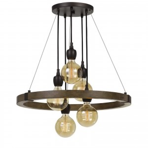 Cal Lighting FX-3687-5 Martos 5 Light 26 inch Pine and Iron Chandelier Ceiling Light