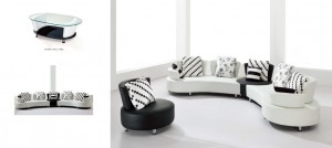 GEMINI - SECTIONAL ONLY IN BLACK &  WHITE LEATHER GEL