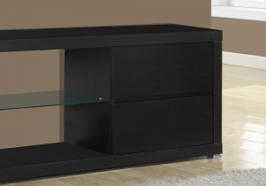 "I 2581 - TV STAND - 60""L / CAPPUCCINO WITH TEMPERED GLASS BY MONARCH SPECIALTIES"