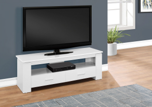 "I 2601 - TV STAND - 48""L / WHITE WITH 2 STORAGE DRAWERS"