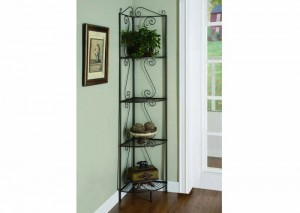 "I 2100 - COPPER METAL 70""H CORNER DISPLAY ETAGERE"