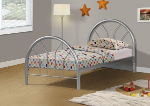 I 2389S - SILVER METAL TWIN BED FRAME ONLY