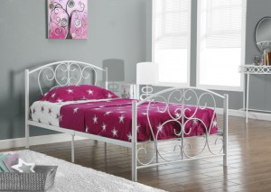 I 2390W - WHITE METAL TWIN SIZE BED FRAME ONLY
