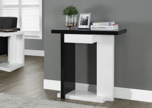 "I 2457 - GLOSSY WHITE / BLACK 32""L HALL CONSOLE ACCENT TABLE"