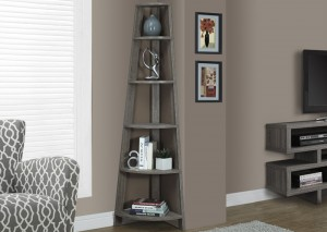 "I 2497 - DARK TAUPE RECLAIMED-LOOK 72""H CORNER ACCENT ETAGERE"