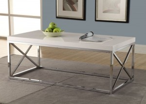 I 3028 - GLOSSY WHITE / CHROME METAL COCKTAIL TABLE