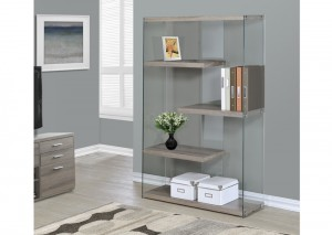 I 3052 - DARK TAUPE RECLAIMED-LOOK / TEMPERED GLASS 60″H BOOKCASE