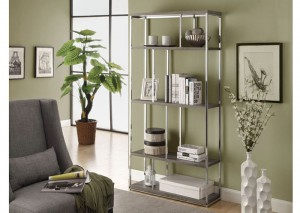 I 3260 - DARK TAUPE RECLAIMED-LOOK / CHROME METAL 72″H BOOKCASE