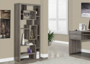 "I 7072 - DARK TAUPE RECLAIMED-LOOK 72""H BOOKCASE"
