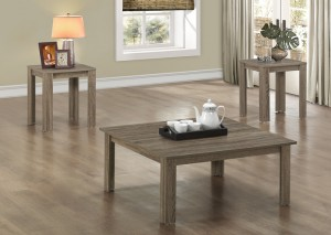 I 7913P - DARK TAUPE RECLAIMED-LOOK 3PCS SQUARE TABLE SET