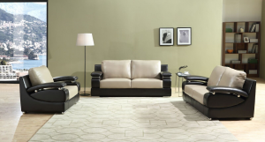 Leena - 3PC Sofa, Loveseat and Chair in Beige and Brown Leather Gel